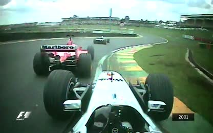 Montoya's muscular pass on Schumacher